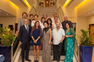 Cyril Manguso, general manager of the Sofitel Athens Airport hotel with the Greek artists of the Mesogea Art Society. Photo © Sofitel