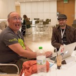 """Mitch Canter (R), a WordPress Developer and marketing strategist, spoke at a session on """"Search Engine Optimization for Bloggers."""""""