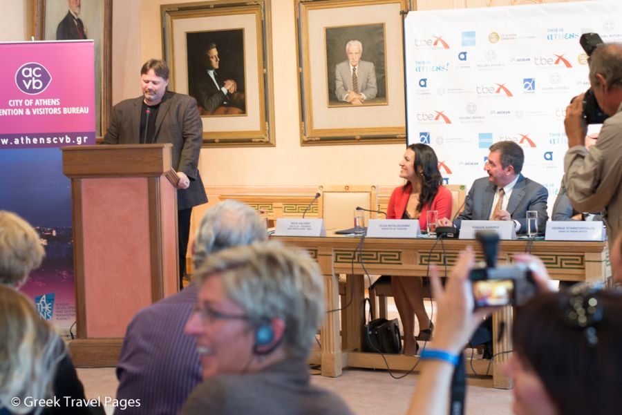 TBEX CEO & Co-Founder Rick Calvert speaking during the TBEX press conference at Athens City Hall.