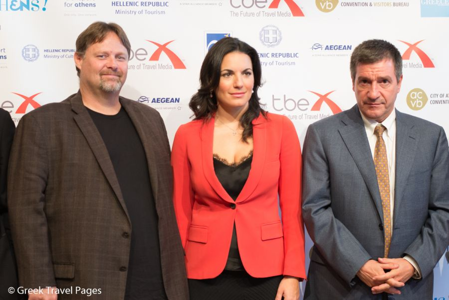 TBEX CEO & Co-Founder Rick Calvert, Greek Tourism Minister Olga Kefalogianni and Athens Mayor Giorgos Kaminis.