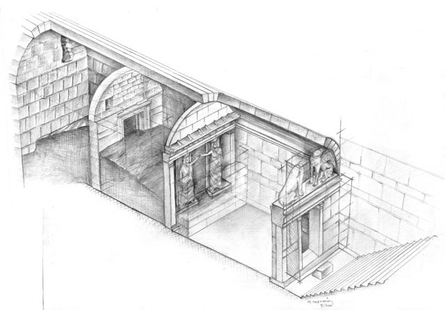 A drawing reconstruction of the  burial mound at Kasta hill in Amphipolis, Greece, released by the Greek Culture Ministry.