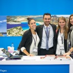 From TBEX in Athens to World Travel Market in London - GTP's newseditor, Nikos Krinis and the public relations director of the Athens Development & Destination Management Agency, Kalliopi Andriopoulou (far left), met up with travel bloggers Jenna Davis of Granted Apparel and Franziska Reichel from Coconut Sports at GTP's stand.