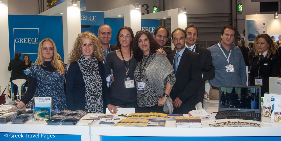 The stand of the Region of the Peloponnese at the World Travel Market 2014 in London.