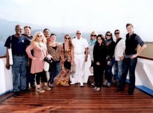 TBEX travel bloggers with the Captain of the Louis Olympia Stathis Romeos.