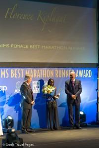 Florence Kiplagat receives AIMS Best Marathon Runner of the year award.