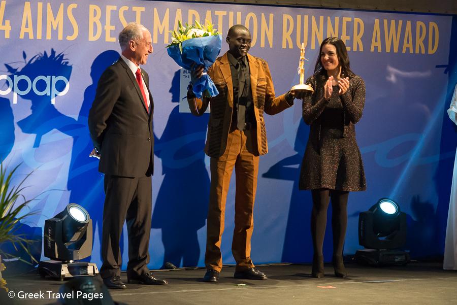 Dennis Kimetto receives AIMS Best Marathon Runner of the year award.