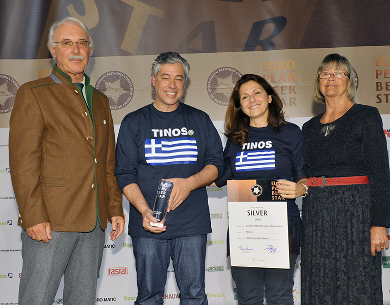 Two of the four founders of Tinos-produced Nissos beer: Maya Tsokli and Alexandros Kouris at this year's European Beer Star Awards in Germany.