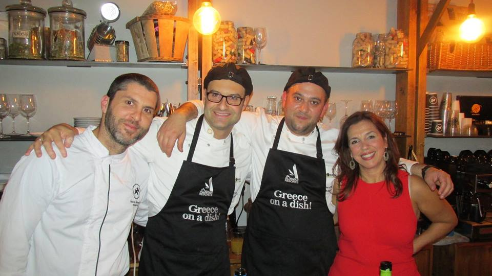 Sympossio's chefs Nectarios, George and Manolis with Aldemar's sales director, Mandy Kalliontzi.