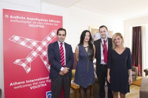 Carlos Muñoz, CEO and founder of Volotea; Ioanna Papadopoulou, director of communications and marketing of Athens Airport; Edo Friart, international development manager of Volotea; and Marina Papageorgiou, head of Athens Airport press office.