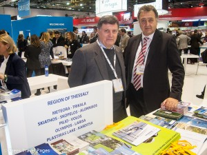 Alex Deffner, Professor of Urban and Leisure Plannin, with Tasos Gousios, marketing manager for the Hoteliers Association of Larissa, at the stand of the Region of Thessaly at WTM 2014.
