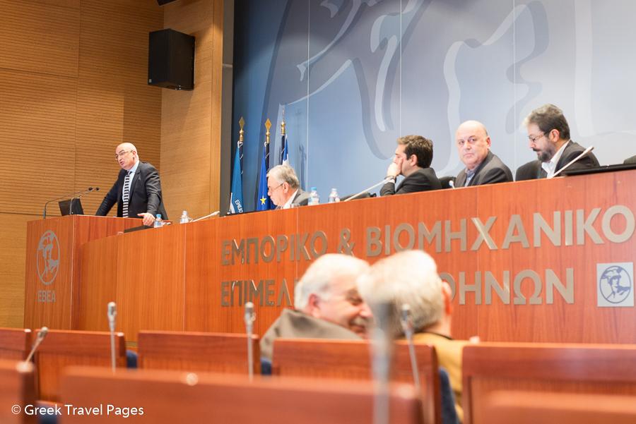 Hellenic Chamber of Hotels President Yiorgos Tsakiris during his speech.