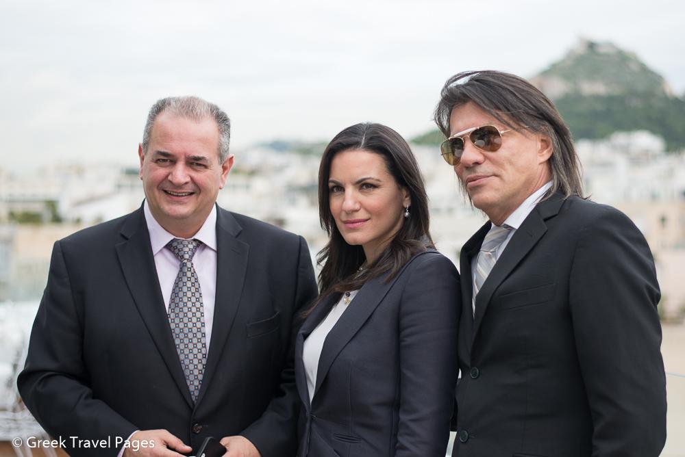 GNTO Secretary General Panos Livadas, Greek Tourism Minister Olga Kefalogianni and Marathon Mayor Ilias Psinakis.