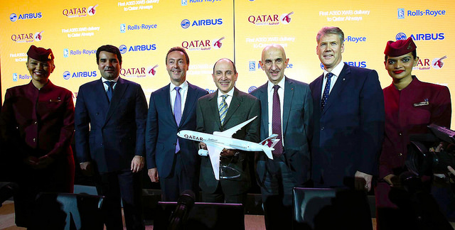 Qatar Airways A350 XWB press conference in Toulouse - Qatar Airways Group Chief Executive, His Excellency Mr. Akbar Al Baker (centre), is pictured with Fabrice Bregier, President and Chief Executive Officer of Airbus (third from left) and Tony Wood, President - Aerospace from Rolls Royce (sixth from left), His Excellency Sheikh Mishaal bin Hamad Al-Thani, Qatar's Ambassador to France (second from left) and Louis Gallois, former President and CEO of EADS.