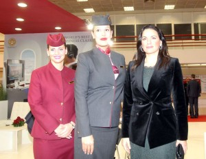 Greek Tourism Minister Olga Kefalogianni welcomed by Qatar Airways cabin crew and commercial team during the opening ceremony of Philoxenia 2014.