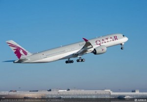 Qatar Airways' first Airbus A350 XWB (Xtra Wide Body)