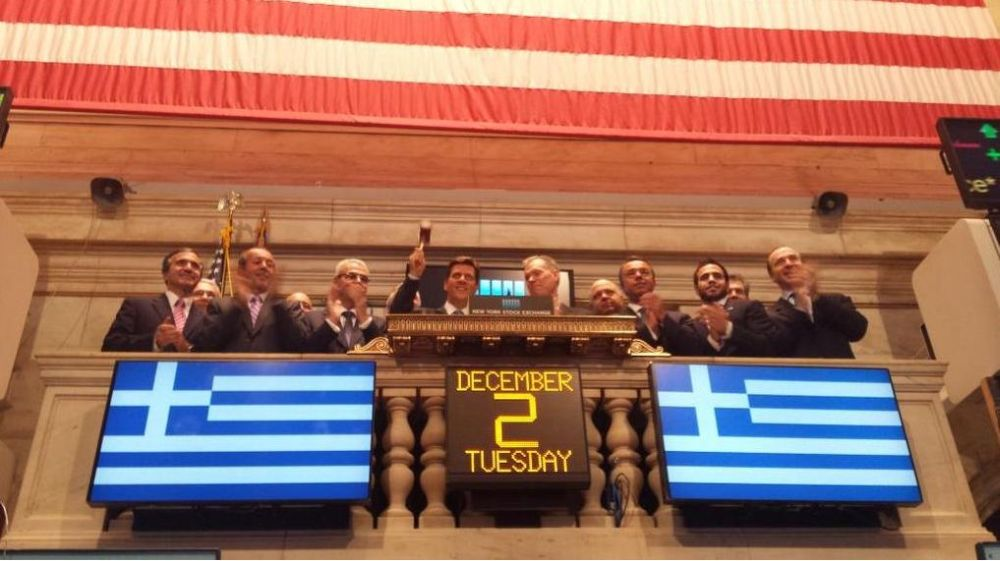 """Greek Day"" at NYSE on Tuesday, 2 December, in the context of the 16th Capital Link Invest in Greece Forum. Photo source: naftikachronika.gr"