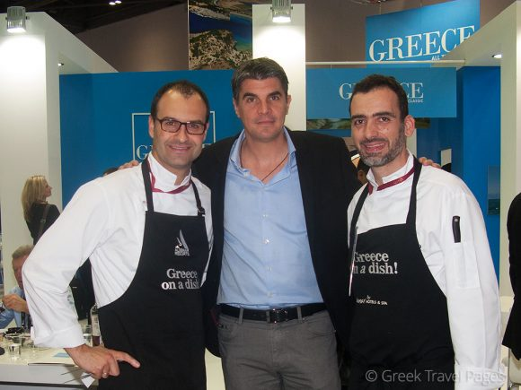 """Aldemar's Alexandros Aggelopoulos with the """"Greece on a dish"""" chefs."""