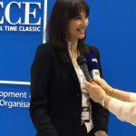Alternate Tourism Minister Elena Kountoura talks to the press