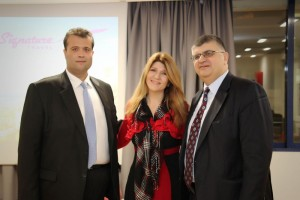 Signature Travel's commercial manager, Dionysis Vlahakis; manager, Maria Alifrangi; and managing director, Petros Alifragis.