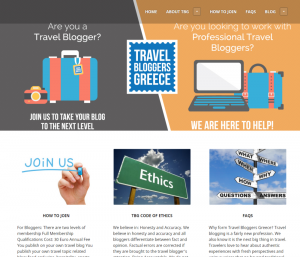 Travel Bloggers Greece Website.
