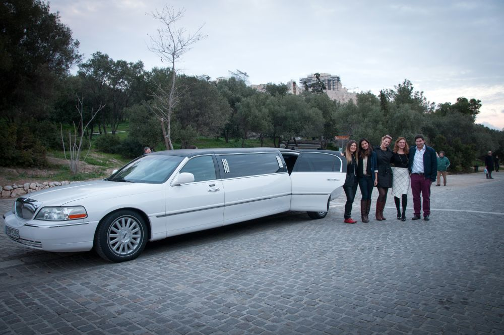 Travel bloggers in Greece during a limo tour of Athens by SATTAS GROUP.