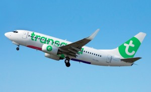 "New brand identity: Transavia has a restyled logo on the fin and an enlarged brand name in the carrier's traditional green, on a white fuselage. The basis of the new message that Transavia aims to communicate is: ""It's a pleasure"". Photo: Studio Dumbar"