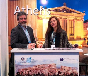 ACVB's press and media manager, George Aggelis, with the public relations director of the Athens Development & Destination Management Agency, Kalliopi Andriopoulou.