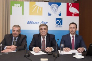 George Antonaros, general manager of Top Kinisis Hellas (GSA for Blue Air in Greece); Gheorghe Racaru, CEO of Blue Air; and Tudor Constantinescu, Chief Commercial Officer of Blue Air.
