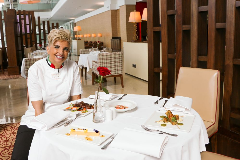 Chef Silvena Rowe in the Emirates First Class lounge in Dubai.