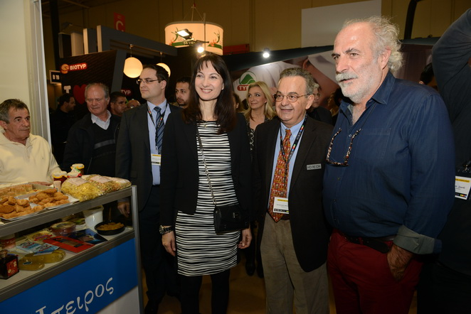"Alternate Tourism Minister Elena Kountoura at the ""Greek Breakfast"" section at HORECA. Far right is George Pittas, head of the ""Greek Breakfast"" program."