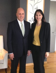 Ambassador of Turkey to Greece Kerim Uras with Greek Alternate Tourism Minister Elena Kountoura.