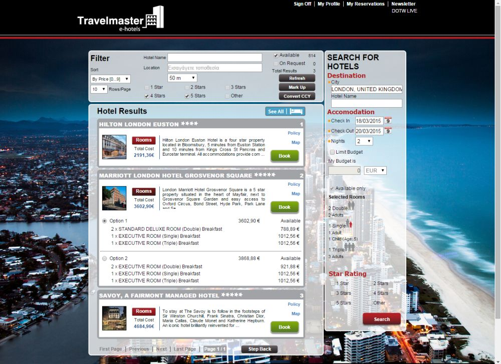 Travelmaster e hotels online booking agent makes for E booking hotel