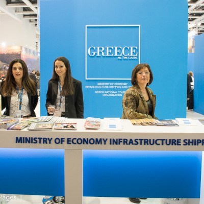 ITB Berlin 2015 The stand of the Greek Ministry of Economy Infrastructure Shipping & Tourism