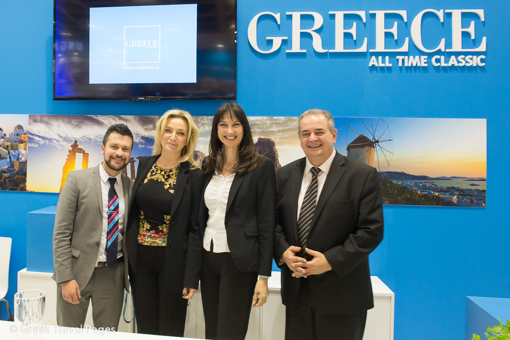 Nicholas Moutafis, Account Manager, EMEA at Expedia with Greek Alternate Tourism Minister Elena Kountoura (second from right) and GNTO Secretary General Panos Livadas.
