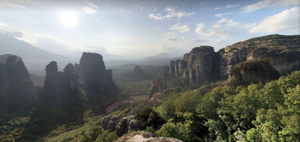 Meteora rock formations as seen through Google.