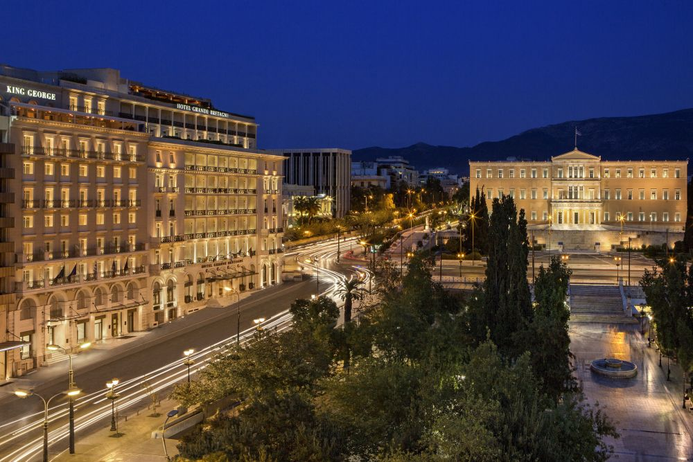 King George and Hotel Grande Bretagne at Syntagma Square in Athens center.