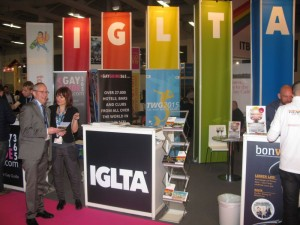 ACVB's Orhideea Rosu talks about Athens with IGLTA's Clark Massad at the IGLTA stand located in the Pink Pavillion in ITB. Photo © GTP