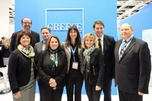 Greek Alternate Tourism Minister Elena Kountoura with the Tourism Committee of the German Bundestag at the Greek stand.