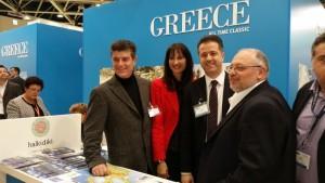 Alternate Tourism Minister Elena Kountoura and Halkidiki Hotel Association President Grigoris Tassios.