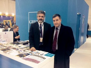 Athens Mayor Giorgos Kaminis (right) with Athens Convention Bureau's Press Officer George Angelis. Photo source: ACVB