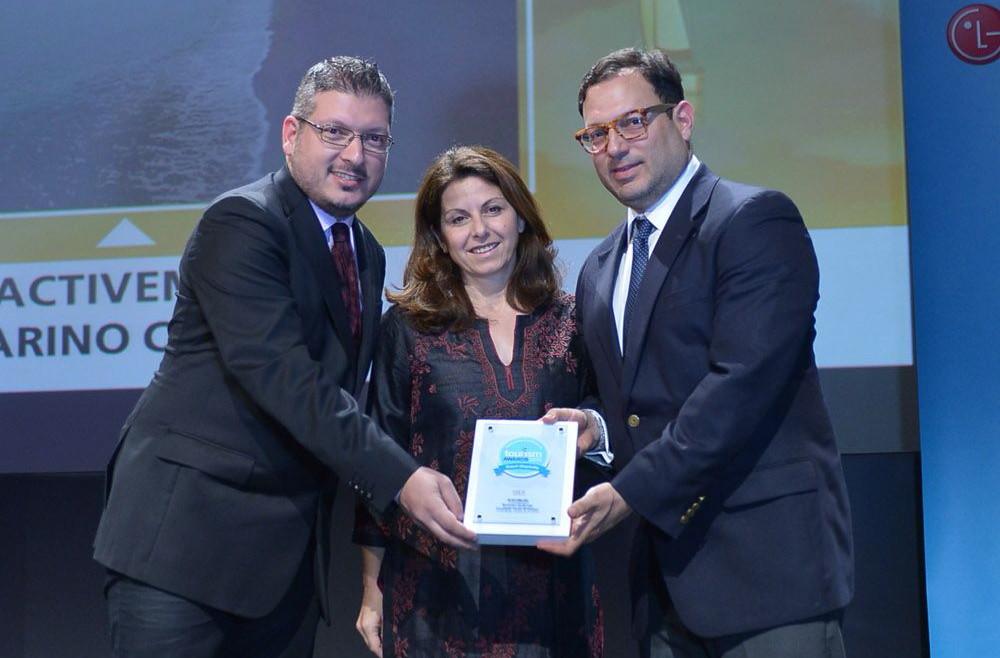 "2015 Tourism Awards - Akis Tsolis, CEO of Active Media Group; Maya Tsokli; and Peter Poulos, organizer of ""Navarino Challenge"". Photo credit: Loukas Hapsis"