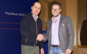 Airtickets' founder Dimitris Kontogeorgos and Travelplanet24's CEO Philipp Brinkmann.