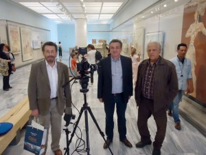British actor Robert Powell, Region of Crete Governor Stavros Arnaoutakis and director-screenwriter Fotis Konstantinidis at the Archaeological Museum of Heraklion. Photo source: Region of Crete
