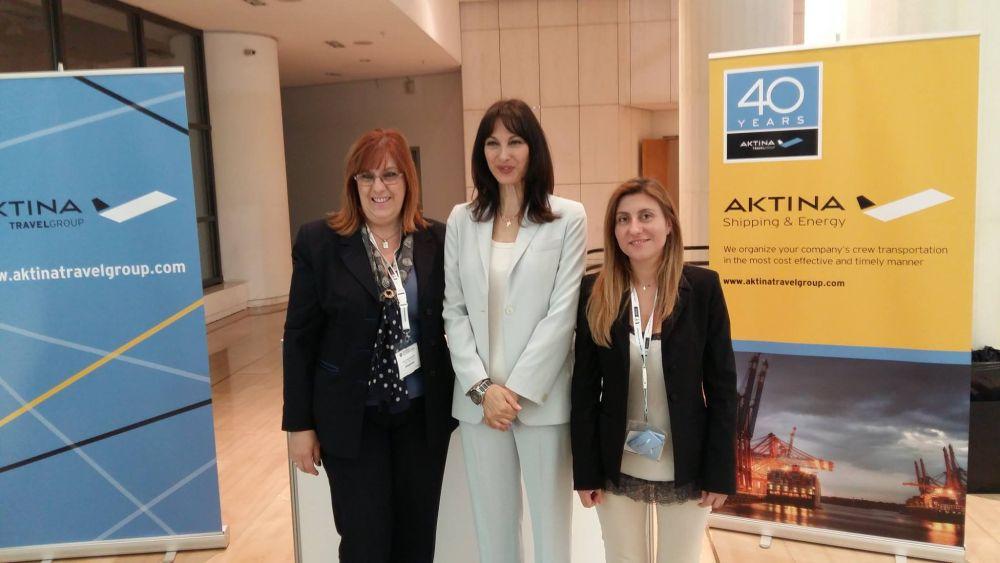 Alternate Tourism Minister Elena Kountoura with Aktina Travel Group executives at the company booth at the 3rd Posidonia Sea Tourism Forum.