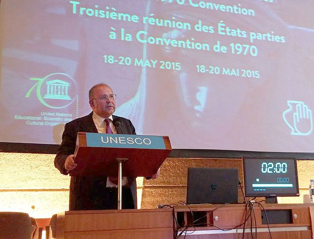 Greek Alternate Culture Minister Nikos Xydakis speaking at the Third Meeting of States Parties to the 1970 Convention on the Means of Prohibiting and Preventing the Illicit Import, Export and Transfer of Ownership of Cultural Property, at UNESCO Headquarters in Paris.