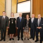 The chairman of TEMES S.A., Achilles V. Constantakopoulos; the vice-chancellor of Stockholm University, Professor Astrid Söderbergh Widding; H.E. the President of the Hellenic Republic, Prokopios Pavlopoulos; the director of NEO, Professor Karin Holmgren; the director of Laboratory of Atmospheric Environment of the Biomedical Research Foundation of the Academy of Athens, Professor Christos Zerefos; and the president of the Biomedical Research Foundation of the Academy of Athens, Professor Gregorios Skalkeas.