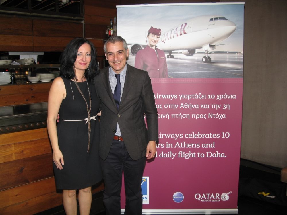 Ioanna Papadopoulou, director of communications and marketing of Athens International Airport and Alexandros Michalopoulos, Qatar Airway's commercial manager for Greece and Cyprus. Photo: GTP