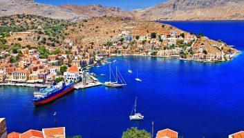 Symi Island port Aerial