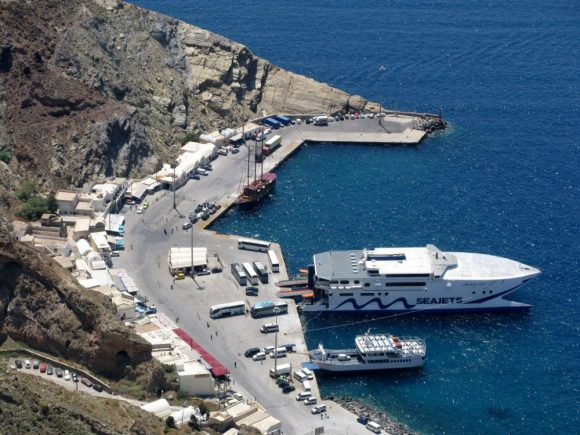 Santorini's port.