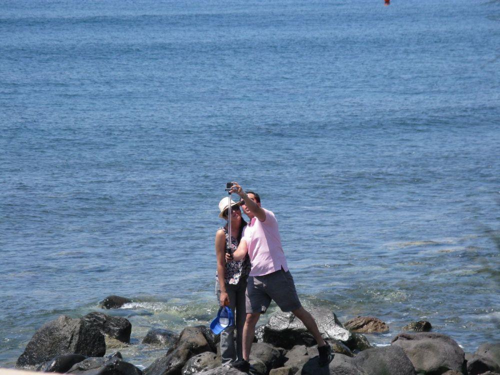 Tourists on Santorini.